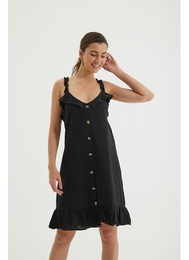 Reyon Askılı Ön Düğmeli Günlük Keten Elbise Beyaz Siyah